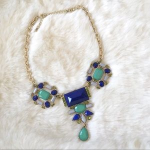 Vibrant Blue and Green Statement Necklace